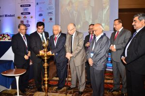Lighting of the inaugural lamp, from L to R: Adesh Jain, Amitabh Kant, TKA Nair, Dr. DV Kapur, ES Ranganathan, AS Kiran Kumar and IS Jha