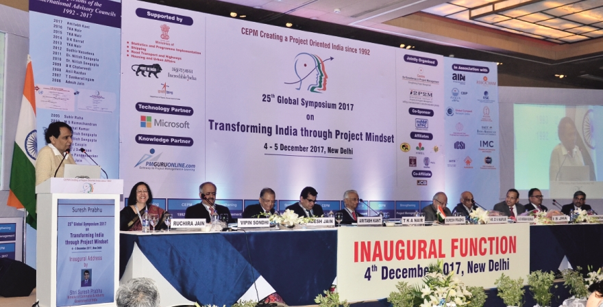 Suresh Prabhu, Hon'ble Minister of Commerce and Industry, Govt. of India giving the Inaugural Speech at the 25th Global Symposium 2017 organised by CEPM.